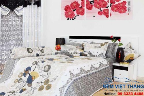 Chăn Ga Gối Edena Màu Trắng Xam Trang Trí Phòng Ngủ